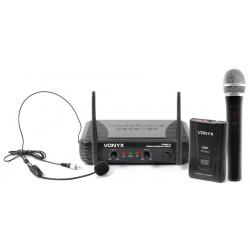 Zestaw mikrofonowy Vonyx mikrofony bezprzewodowe VHF doręczny i nagłowny