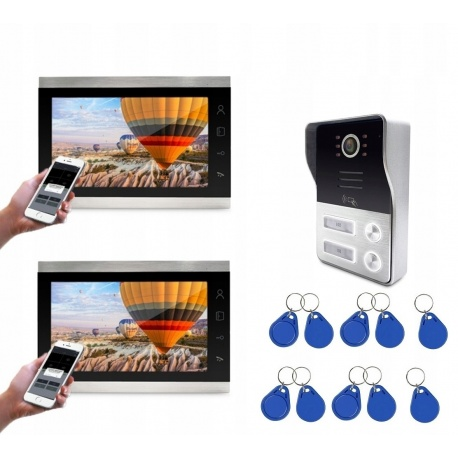 Wideodomofon dwurodzinny z kolorową kamerą i 2 odbiornikami LCD 7 cali obraz 1080p Reer Electronics