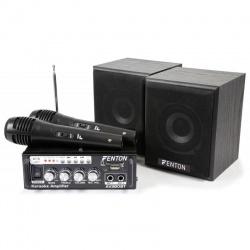 Zestaw Karaoke Fenton AV380BT mikser wzmacniacz głośniki i dwa mikrofony