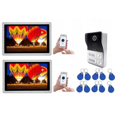Wideodomofon dwurodzinny z kolorową kamerą i 2 odbiornikami LCD 10 cali obraz 1080p Reer Electronics
