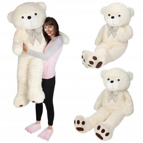 Duży pluszowy biały miś z kokardą wzrost 145 cm pluszak przytulanka