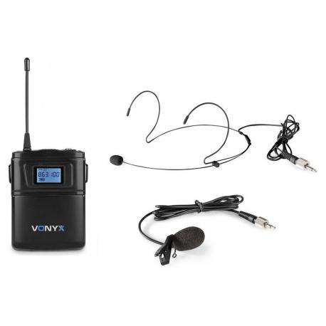 Mikrofon nagłowny lavalier bodypack Vonyx WM60B na baterie 16 kanałów