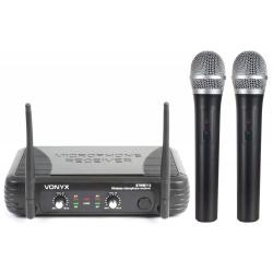 Zestaw mikrofonowy Vonyx 2 x mikrofon bezprzewodowy VHF doręczny STWM712