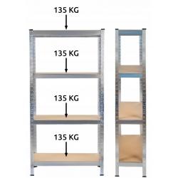 Metalowy regał magazynowy 150 x 75 x 30 cm obciążenie 540 kg 4 półki do garażu