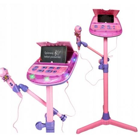 Mikrofon na statywie dla dzieci do śpiewania KARAOKE stojący MP3 głośniki stacja