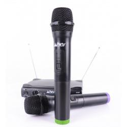 Bezprzewodowy zestaw 2x mikrofon PARTY-200UHF na baterie zasieg 30m
