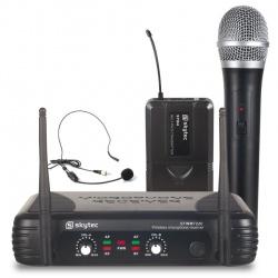 Zestaw bezprzewodowy mikrofon nagłowny i doręczny Skytec STWM722C
