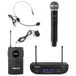 Mikrofon krawatowy doręczny nagłowny bezprzewodowy zestaw Vonyx WM82C