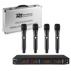 Zestaw mikrofonów bezprzewodowych 4 mikrofony doręczne Power Dynamics PD504H