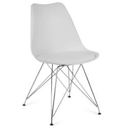 Nowoczesne i stylowe krzesło skandynawskie dwa kolory miękkie siedzisko nogi chromowane