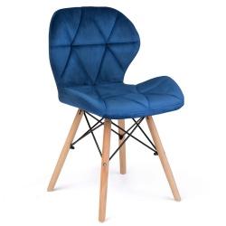 Krzesło skandynawskie tapicerowane pokryte welurem oparcie drewniane nogi bukowe