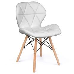Krzesło skandynawskie tapicerowane pokryte sztuczną skórą miękkie oparcie drewniane nogi bukowe