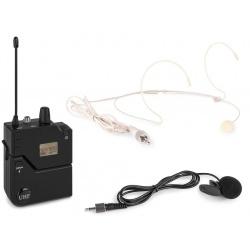 Mikrofon nagłowny i krawatowy zestaw UHF Power Dynamics PD632BP