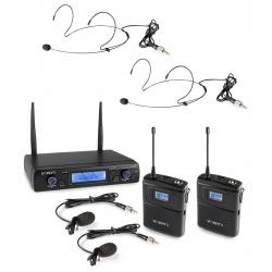 Mikrofon nagłowny i krawatowy bezprzewodowy 2x bodypack UHF Vonyx WM62B