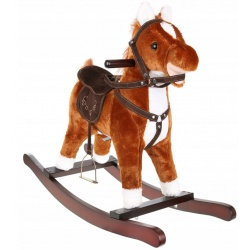 Duży śpiewajacy konik koń na biegunach dźwięki rusza ogonem i pyszczkiem