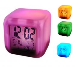 Świecący zegar kameleon posiwetlany kolorowo elektroniczny budzik termometr