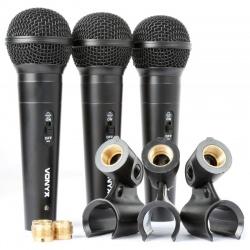 Trzy mikrofony dynamiczne zestaw Vonyx VX1800S przewodowe uchwyt adapter