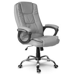 Fotel biurowy dla prezesa na kółkach eko skóra obrotowy szary czarny beżowy
