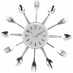 Zegar ścienny kuchenny Sztućce do kuchni 3D chrom restauracji na baterie