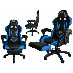 Wygodny fotel gamingowy kubełkowy podnóżek do grania dla gracza