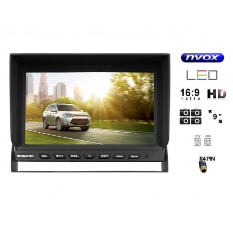 Monitor samochodowy wolnostojący LCD 9 cali HD obsługa 4 kamer cofania parkowania 4pin zasilanie 12V 24V