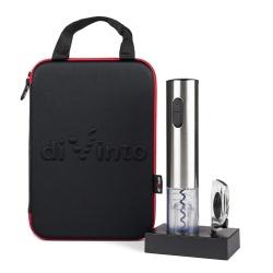 Elektroniczny korkociąg do wina Silver Twister Deluxe nożyk do folii stacja do ładowania