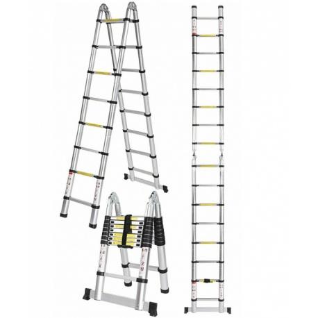 Składana drabina teleskopowa aluminiowa łamana 320 cm przystawna wysokość robocza 450cm