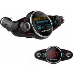 Samochodowy transmiter FM z Bluetooth wejście liniowe jack 3,5mm 8w1