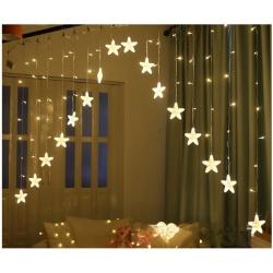 Zewnętrzne wiszące gwiazdy kurtyna 136 LED lampki choinkowe biały multikolor 8 trybów