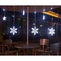 Wiszące gwiazdy lampki choinkowe kurtyna 138 LED płatki śniegu 3 kolory