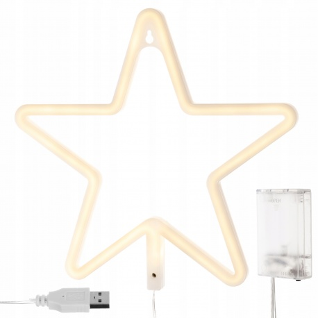 Duża ozdobna gwiazda 100 LED wisząca na okno lampki choinkowe na baterie USB
