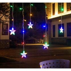 Lampki choinkowe wiszące gwiazdy kurtyna 108 LED IP44 zewnętrzne 8 trybów