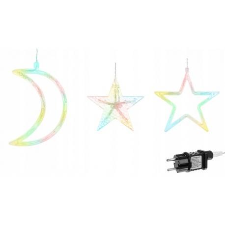 Kurtyna wisząca 138 LED gwiazdki księżyce 8 programów zewnętrzne