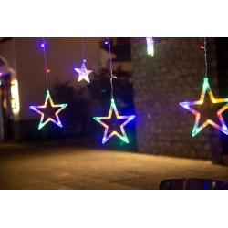 Kurtyna gwiazdy wiszące lampki choinkowe 138 LED IP44 zewnętrzne na budynek