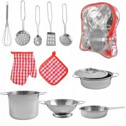 Zestaw garnków dla dzieci metalowe naczynia garnki zabawa w gotowanie