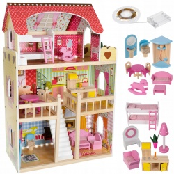 Drewniany domek dla lalek z oświetleniem LED zabawki taras willa mebelki