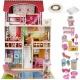 Drewniany domek dla lalek z oświetleniem LED basenem zabawki taras mebelki