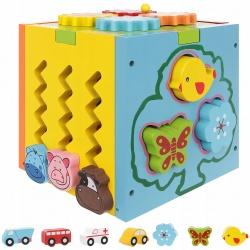 Kostka edukacyjna drewniana sorter edukacyjny klocki dla dzieci drewniane
