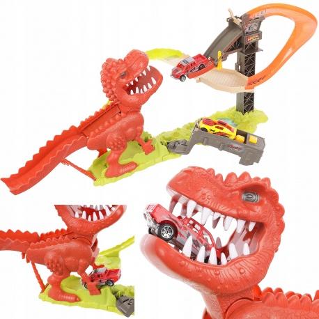 Tor samochodowy wyrzutnia 2 autka resoraki T-rex dinozaurna 2 osoby