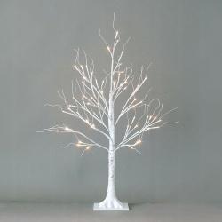 Białe drzewko ozdobne świecące brzoza lampki LED świąteczne 90cm
