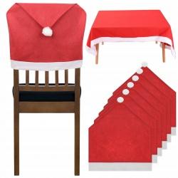 Świąteczny pokrowiec na krzesło czapka Mikołaja 6 sztuk obrus 172x130 cm