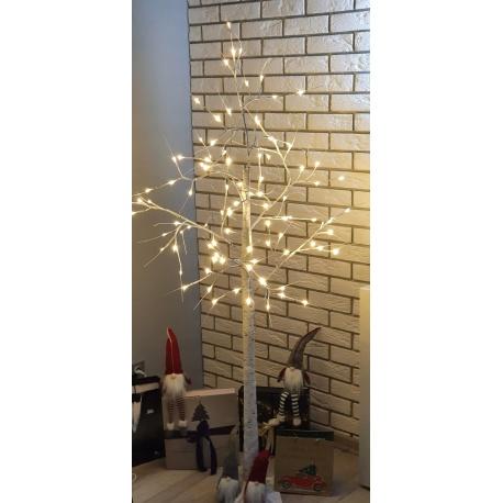 Białe drzewko ozdobne świecące brzoza lampki LED świąteczne 180cm