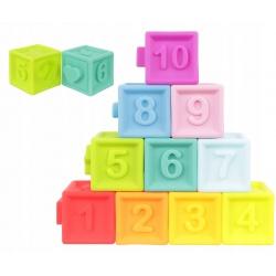 Miękkie klocki sensoryczne dla dzieci kolorowe zestaw 10 klocków