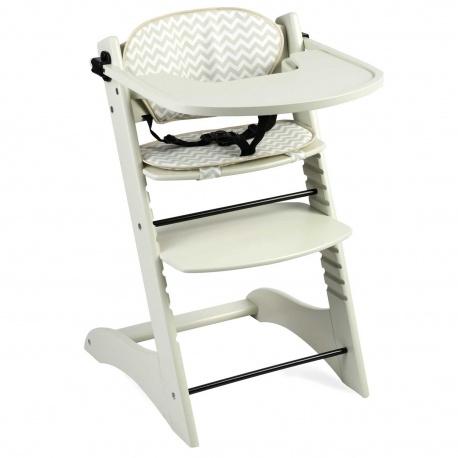 Drewniane krzesełko do karmienia dla dzieci pasy bezpieczeństwa drewno bukowe norma EN14988