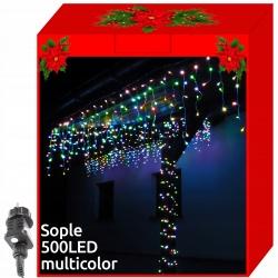 Sople lampki 500 LED zewnętrzne kurtyna 8 efektów świetlnych białe kolorowe