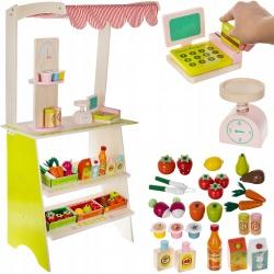 Stragan dla dzieci supermarket drewniany kasa fiskalna sklep warzywniak