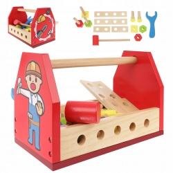 Skrzynka z narzędziami dla dzieci klucz młotek drewniane narzędzia