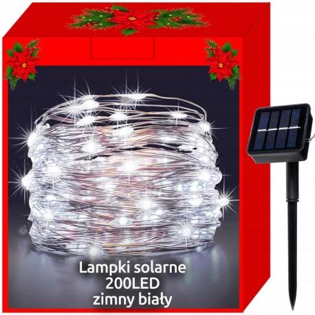 Lampki zewnętrzne 200 LED dekoracyjne panel solarny IP44 solarne białe kolorowe
