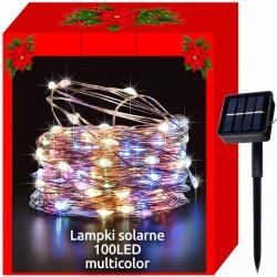 Lampki zewnętrzne 100 LED dekoracyjne panel solarny IP44 solarne białe kolorowe