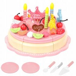 Drewniany tort urodzinowy do krojenia na magnesy 48 elementów zabawkowy